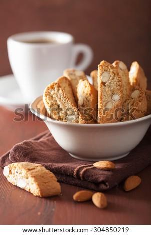 traditional italian cantuccini cookies and coffee - stock photo