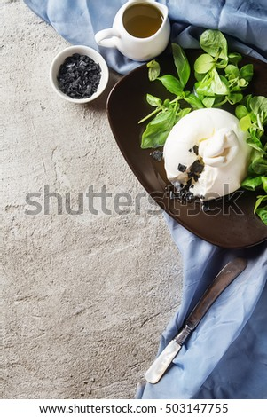 Traditional Italian cheese burrata, fresh salad, olive oil, black salt in a ceramic plate with vintage fork. Light concrete background