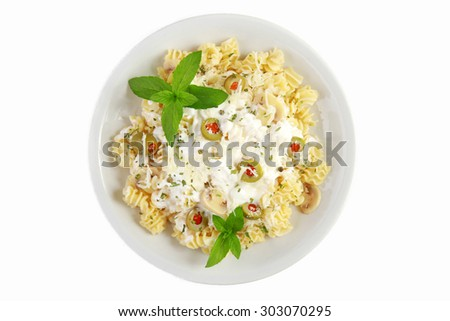 Traditional Italian pasta with cheese on the top  - stock photo