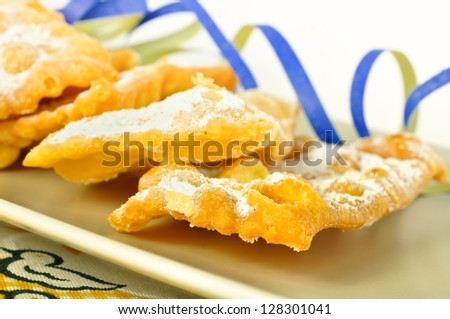 Traditional italian pastries, called Bugie or Chiacchere, of Carnival's holidays. - stock photo