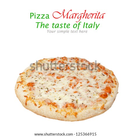 Traditional italian pizza Margherita with tomato and mozzarella - stock photo