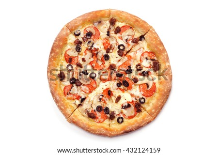 Traditional Italian pizza on a white background