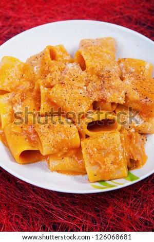 traditional italian recipe Amatriciana. closeup shoot. - stock photo