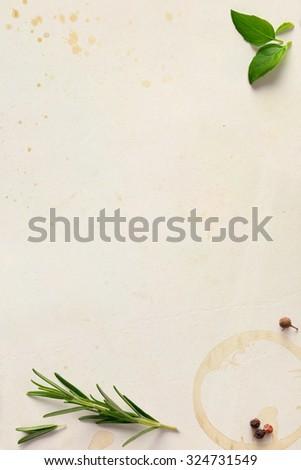Traditional Italian recipe home restaurant; paper background - stock photo