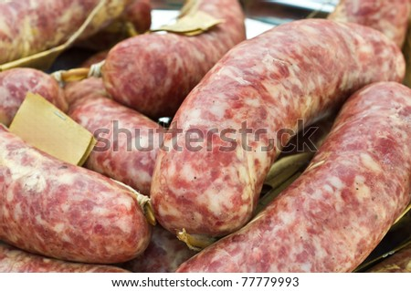 Traditional Italian sausages on display at farmer's market - stock photo