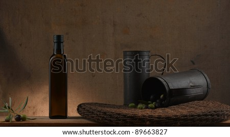 traditional italian tools for producing olive oil - stock photo