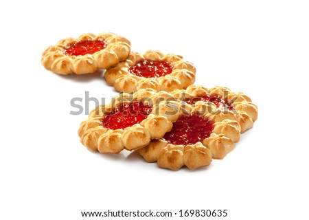 traditional jam cookies on white background  - stock photo