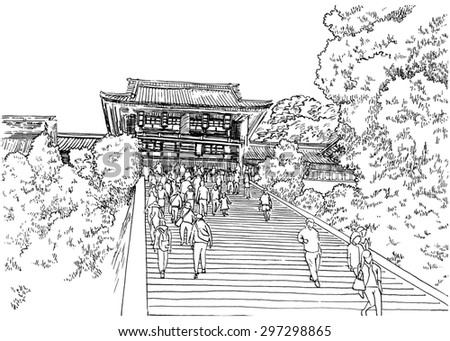 Traditional Japan temple on the hill with some people on the stairs. Black and white dashed style sketch, line art, drawing with pen and ink. Retro vintage picture / etching / engraving on paper. - stock photo