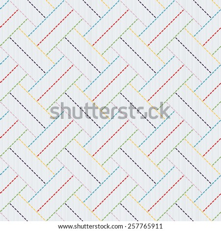 Traditional Japanese Embroidery Ornament. Sashiko motif - colorful weaving. Abstract backdrop. Needlework texture. Seamless pattern.  For decoration or printing on fabric. Pattern fills. - stock photo