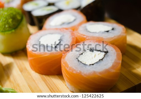 traditional japanese food roll sushi - stock photo