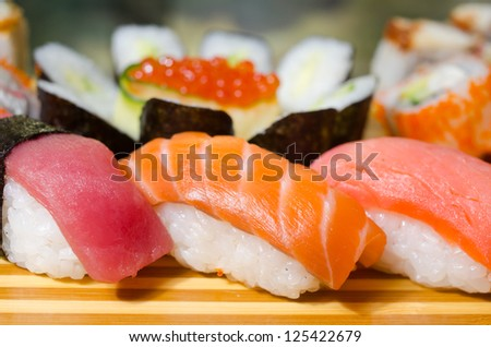traditional japanese food roll sushi