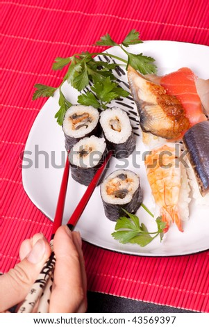 Traditional japanese food - sushi - stock photo