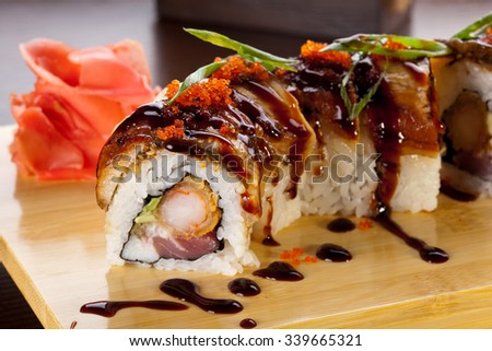 Traditional japanese food. Sushi eel rolls. - stock photo