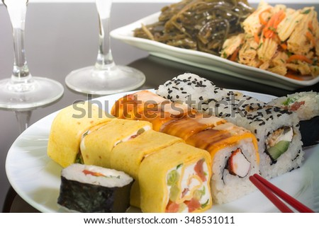 Traditional Japanese food Sushi.Sushi collection on white plate