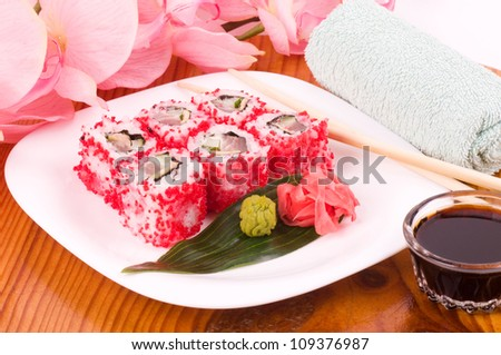 Traditional Japanese food Sushi. Sushi collection with flowers