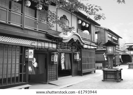 Traditional Japanese geisha house/street, black and white - stock photo