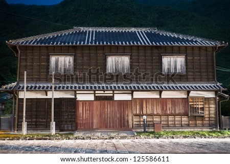 Traditional Japanese house at night at Misumi, Kumamoto, Japan