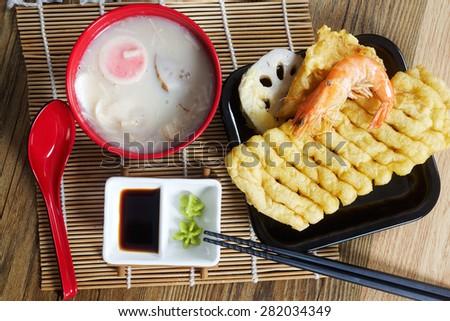 Traditional Japanese soup Chawanmushi and fried tofu tempura - stock photo