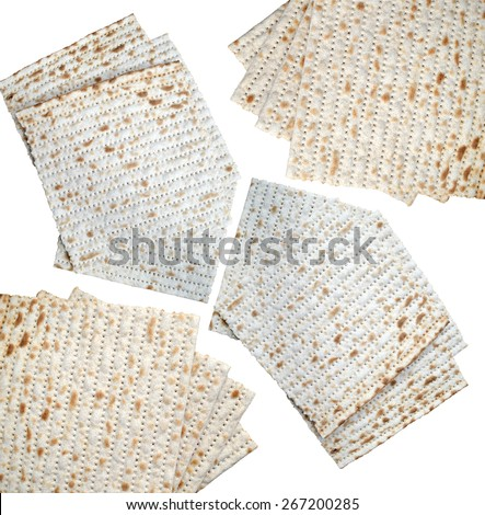 Traditional jewish bread matzo isolated on white - stock photo
