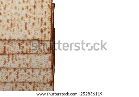 Traditional Jewish holiday food - Passover matzo - stock photo