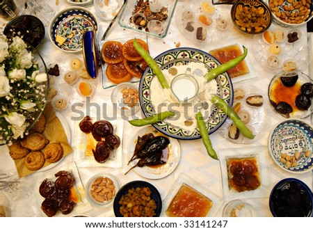 Traditional Jewish moroccan feast of Mimuna - stock photo