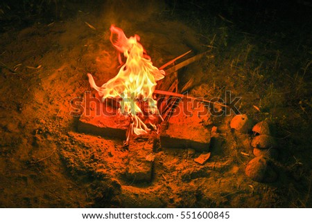 Traditional kitchen in rural area of India for grilling fish on campfire with flames. Natureal wood used to make fire for cooking . Hot grill with fire flaming charcoal Kerala South Indian