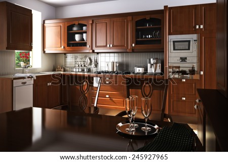 Traditional kitchen interior design with wood accents.  Photo realistic 3d illustration.  - stock photo
