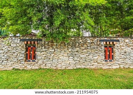 Traditional korean wall  - stock photo