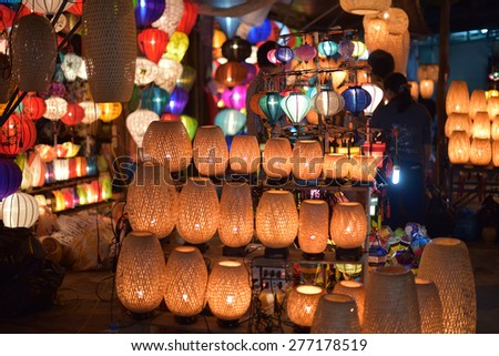Traditional lamps in Old Town Hoi An, Central Vietnam - stock photo