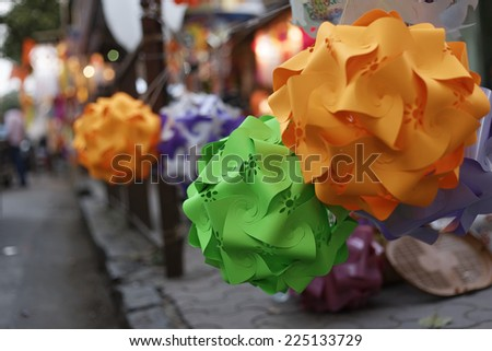 Traditional lanterns on street side shop on the occasion of Diwali festival in Mumbai, India in October 2014. - stock photo