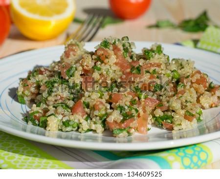 Traditional Lebanese salad tabouli with quinoa - stock photo