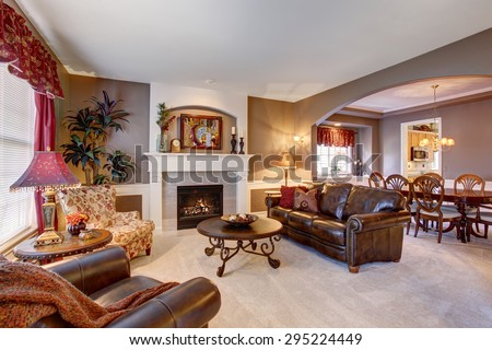 Traditional living room in elegant home with the perfect decor. - stock photo