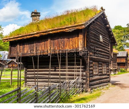 Traditional log farmhouse in the Norwegian Folk Museum in Oslo, Norway.