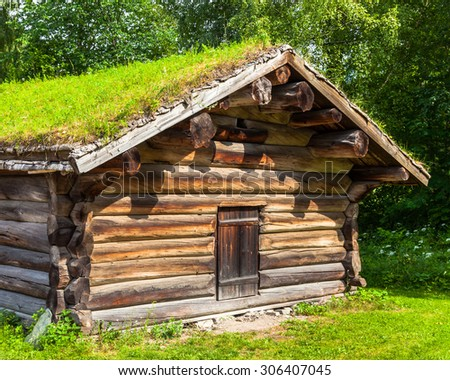 Traditional log farmhouse in the Norwegian Folk Museum in Oslo, Norway. - stock photo