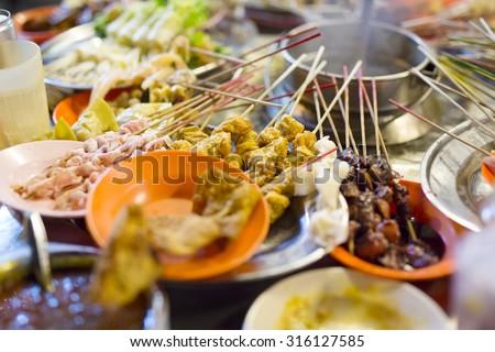 Traditional lok-lok street food from Malaysia - stock photo