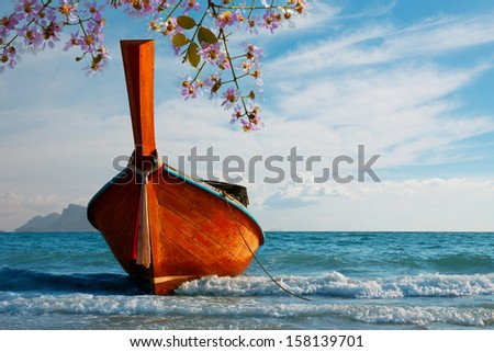 Traditional longtail boat at Andaman sea, Thailand - stock photo