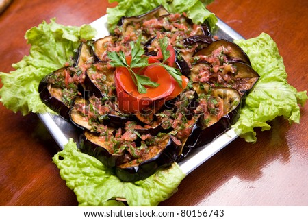 Traditional macedonian dish - grilled eggplant with tomato sauce - stock photo