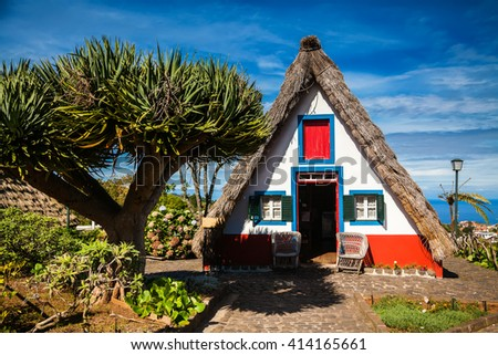 traditional Madeira house in Santana, built of wood and thatched with straw