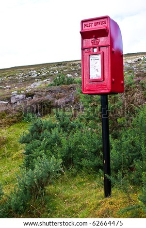 Traditional mail box in Scotland, in the middle of nowhere - stock photo