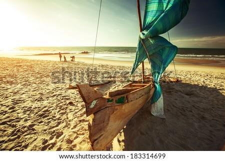 Traditional Malagasy sail boat. Morondava, Madagascar - stock photo