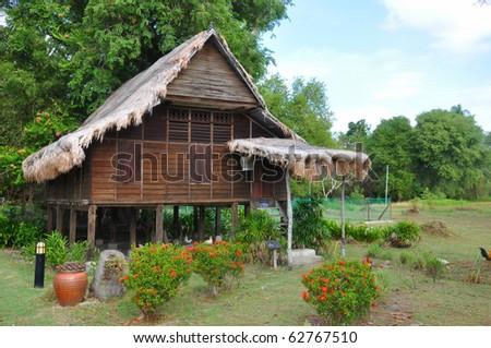 traditional malay house - stock photo