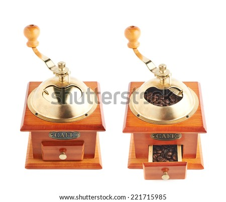 Traditional manual wooden coffee grinder isolated over the white background, set of two foreshortenings, closed and opened - stock photo