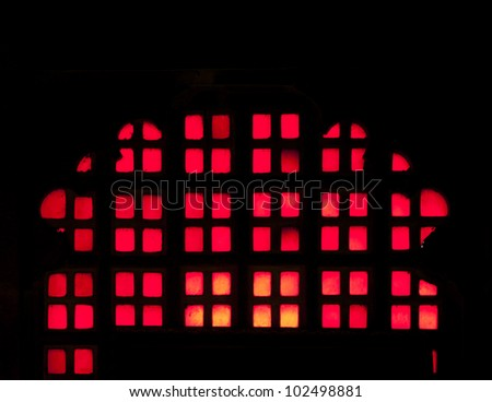 Traditional  marble window detail from Udaipur, Rajasthan, India - stock photo