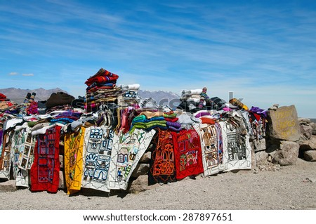 Traditional market in miradores Peru in high altitude highlands - stock photo