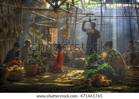 Traditional Market with A Ray of Light in the Southern Part of Jakarta, Indonesia. Date taken 14 October 2012