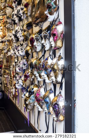 Traditional masks of carnival in a famous shop in Venice, Italy - stock photo
