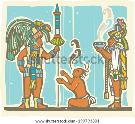Traditional Mayan Mural image of a Mayan Warrior, sacrifice and priest. - stock photo