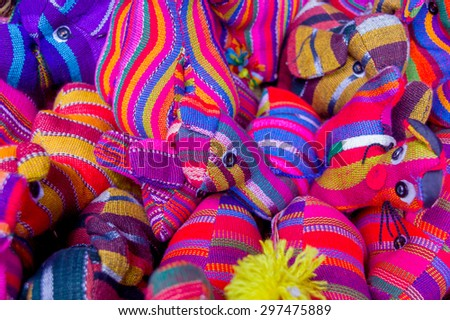 traditional mayan textiles on s msrket stall in antigua guatemala - stock photo