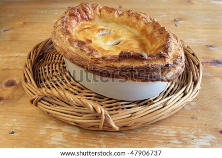 Traditional Meat Puff Pastry Pie - stock photo