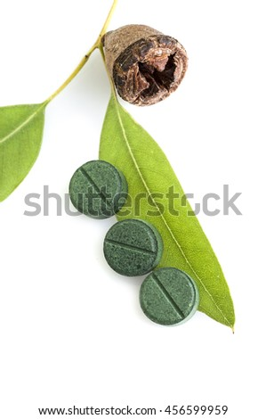 Traditional medicine: Green Eucalyptus branch with leaves, seed and pills isolated on white background - stock photo
